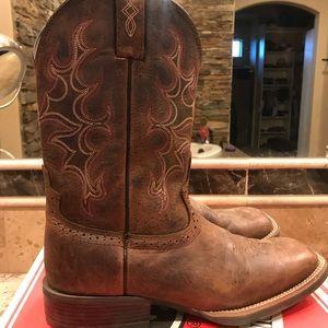 Justin Boots Men's Silver Antique Brown Buffalo